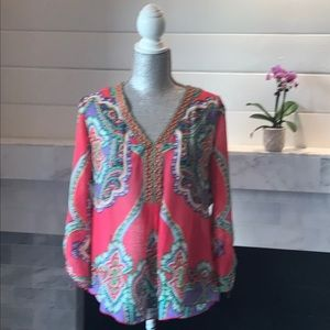 Hale Bob Silk Boho Printed Sheer Tunic Preloved!
